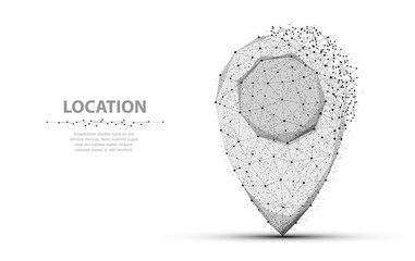 Pin. Polygonal mesh art. Concept illustration or background