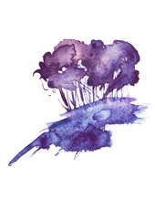 Blue, purple tree, bush watercolor. On an isolated white background. Blue abstract spot, blot, splash. Ecological abstract art illustration. watercolor landscape. Postcard, card.
