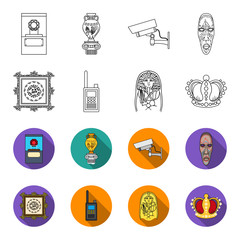 Picture, sarcophagus of the pharaoh, walkie-talkie, crown. Museum set collection icons in outline,flat style vector symbol stock illustration web.
