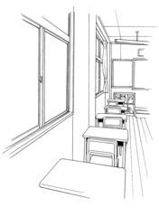 漫画風ペン画イラスト 学校(教室)
