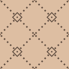 Beige and brown geometric seamless pattern