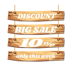 wooden sign board. sale discount 10%. Sale signboard. surface. vector. on white background