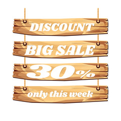 wooden sign board. sale discount 30%. Sale signboard. surface. vector. on white background