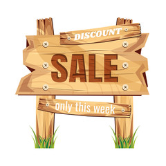 wooden sign board. sale discount. Sale signboard. surface. vector. on white background