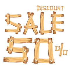 wooden sign board. sale discount 50%. Sale signboard. surface. vector. on white background