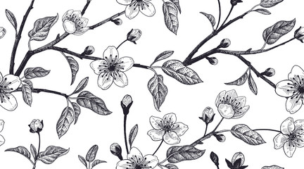 Floral vintage seamless pattern with Japanese cherry.