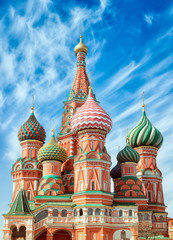 Fototapete - St. Basil Cathedral, Red Square, Moscow. Close up vertical orientation,