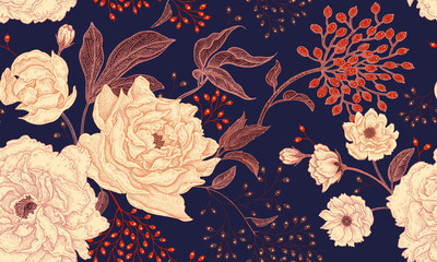 Floral vintage seamless pattern with peonies.