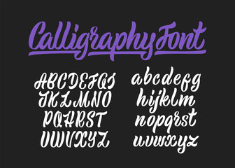 Calligraphic vector script font. Handwritten brush style modern calligraphy cursive typeface.