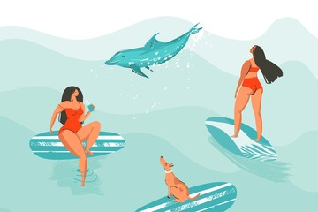 Hand drawn vector abstract cartoon graphic summer time funny illustrations poster with surfer girls in red bikini with dog isolated on blue ocean waves textured background
