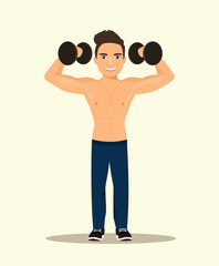 Strong Man Bodybuilder with dumbbells. Vector flat style illustration