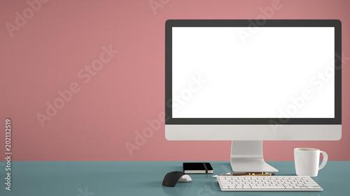 Desktop mockup, template, computer on blue work desk with blank ...