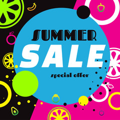 summer sale template banner, bright design. Vector illustration on background. discount