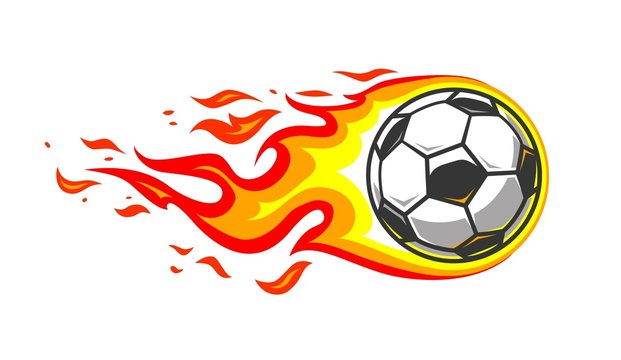 Soccer ball in burning fire flames