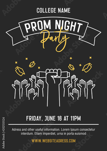 Prom night party invitation card with hands raised throwing academic prom night party invitation card with hands raised throwing academic hats up and showing diplomas stopboris Choice Image