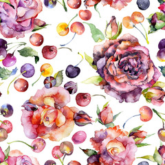 Red, beautiful, garden, decorative roses. Ripe, juicy, bard, flavorful, delicious berries of cherry. Watercolor. Illustration
