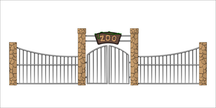 Zoo gate. Isolated object in cartoon style on white background. Gateway with lattice. Vector illustration