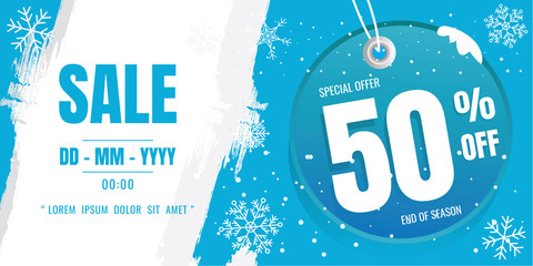 winter sale banner template design. snow flake. Ice Crystals. season. Blue floor. discount 50%