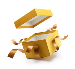 Gold open gift box with ribbon isolated