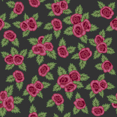Colorful seamless pattern. Hand drawn red roses on dark background. Retro design