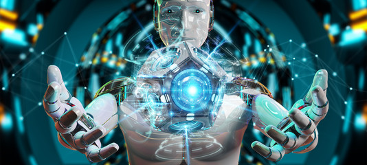 White man humanoid using drone security camera 3D rendering