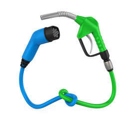 Electric Vehicle Charging Plug and Gas Nozzle Isolated