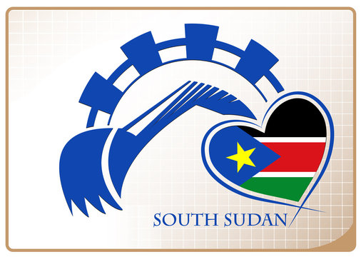 Backhoe logo made from the flag of South Sudan