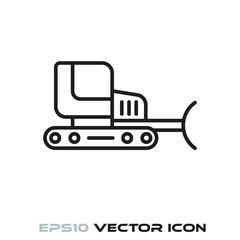 Bulldozer flat line icon