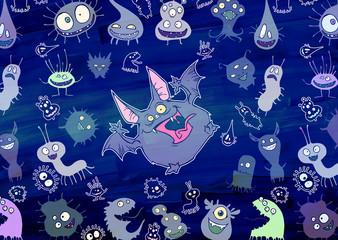 Cartoon illustration set of funny fluffy kawaii bizarre creatures gathered around one big monster