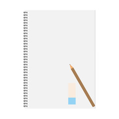 Notebook and pencil with copy space isolated on background.Vector illustration