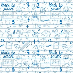 School background with hand drawn school supplies, Back to School lettering in pop art style on blackboard. Back to school seamless vector pattern. Good for textile fabric design, wrapping paper and