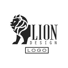 Lion logo design, monochrome element for poster, banner, embem, badge, tattoo, t shirt print vector Illustration on a white background