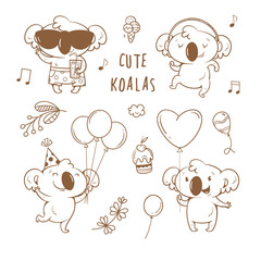 Set  with cute cartoon koalas. Vector contour  image no fill. Little funny baby animals on party. Children's illustration.