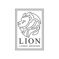 Lion logo design, emblem with silhouette of wild animal for poster, banner, embem, badge, tattoo, t shirt print, classic vintage style vector Illustration on a white background