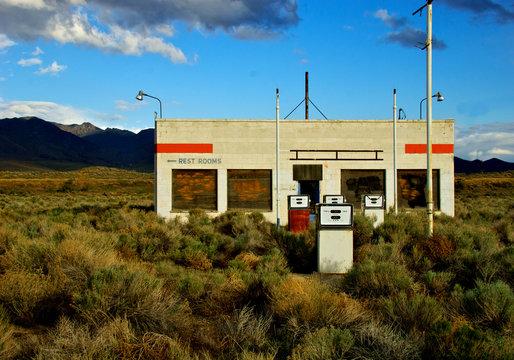 Derelict Gas Station being engulfed by sagebrush, Winnemucca, Nevada