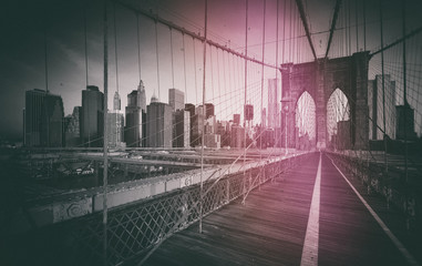 Fototapete - Photo Vintage du Pont de Brooklyn - New York