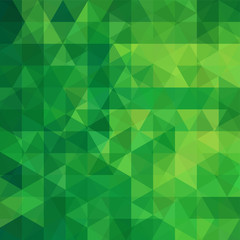 Background of green geometric shapes. Abstract triangle geometrical background. Mosaic pattern. Vector EPS 10. Vector illustration