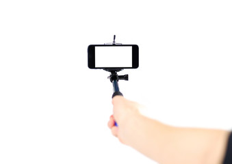 Selfie stick for phone. Close up. Isolated on white background