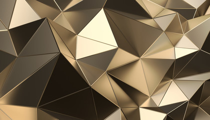 Abstract 3d rendering of triangulated surface. Modern background. Futuristic polygonal shape. Low poly minimalistic design for poster, cover, branding, banner, placard. Wall mural