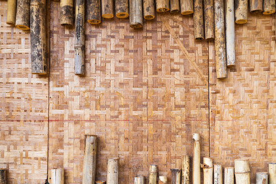 Vintage bamboo wall textured.