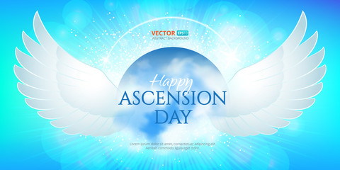 Greeting card or banner to Ascension day of Jesus Christ. Catholics and Anglican Christians Religious culture holiday. Perfect to use in advertising or web design and others creative projects