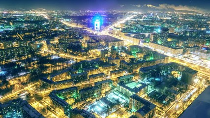 Fotobehang - Aerial view of Moscow at night. Illuminated city streets interconnect the cityscape. 4K UHD timelapse.