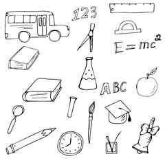 Set vector hand drawn school theme, teacher's day