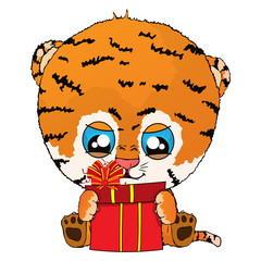 Isolated vector illustration a funny cartoon tiger cub with gift.