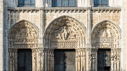 Chartres, France - May 21, 2017: West Royal portal of Cathedral of Our Lady of Chartres