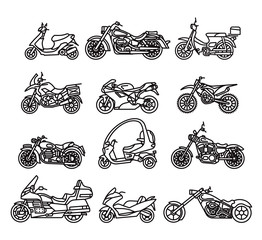 Set of different motorcycles in flat design. Vector. Isolated