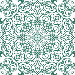 Seamless floral motif pattern coloring mandala, lace, hand drawn. green, marsh and white. Ethnic, fabric, motifs. Vector, abstract mandala flower. Decorative elements for design. EPS 10.
