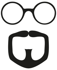 Black and white goatee glasses silhouette set