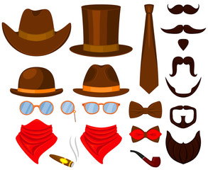 Colorful cartoon hipster 21 element set.