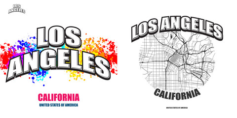 Los Angeles, California, two logo artworks